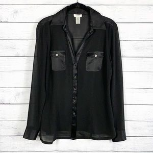 Cache Sheer Silk Button Up Blouse Black